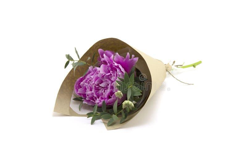Blumenstrauß der rosafarbenen Pfingstrosen lizenzfreies stockfoto