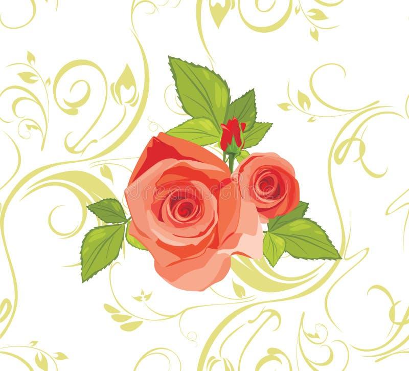 Blumenstrauß der Rosen auf dem dekorativen Hintergrund lizenzfreie abbildung