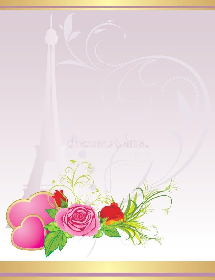 Blumenstrauß der Rosen mit rosafarbenen Inneren und Eiffelturm lizenzfreie abbildung