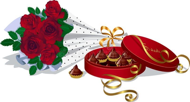Blumenstrauß der Rosen und der Schokoladen lizenzfreie abbildung