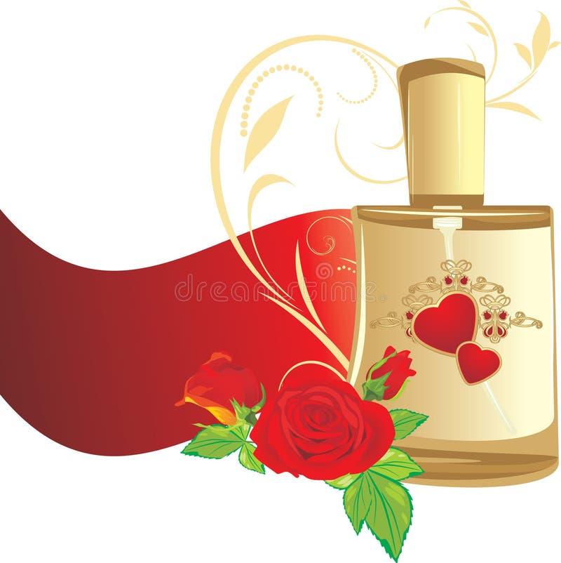 Blumenstrauß der Rosen und des Duftstoffes für Frau stock abbildung