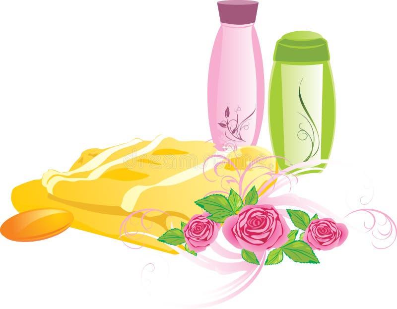 Blumenstrauß der Rosen und des Sets für das Baden lizenzfreie abbildung