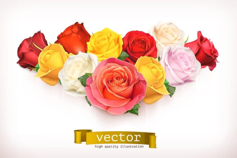 Blumenstrauß der Rosenillustration vektor abbildung