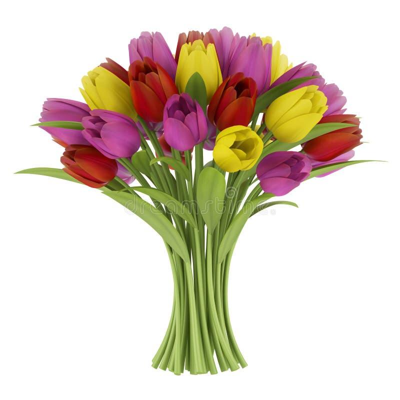Download Blumenstrauß Der Tulpen Getrennt Auf Weiß Stock Abbildung - Illustration von posy, pfad: 26366679