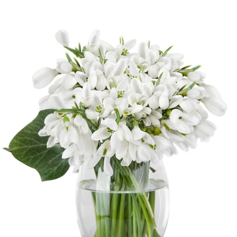 Blumenstrauß des Schneeglöckchens blüht im Korb, der auf weißem backgro lokalisiert wird stockbilder