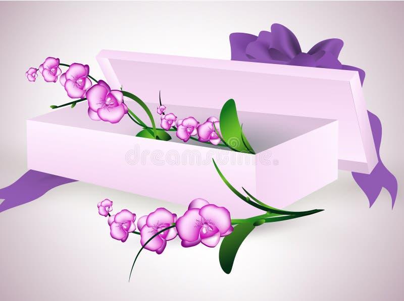 Blumenstrauß im Geschenkkasten lizenzfreie abbildung