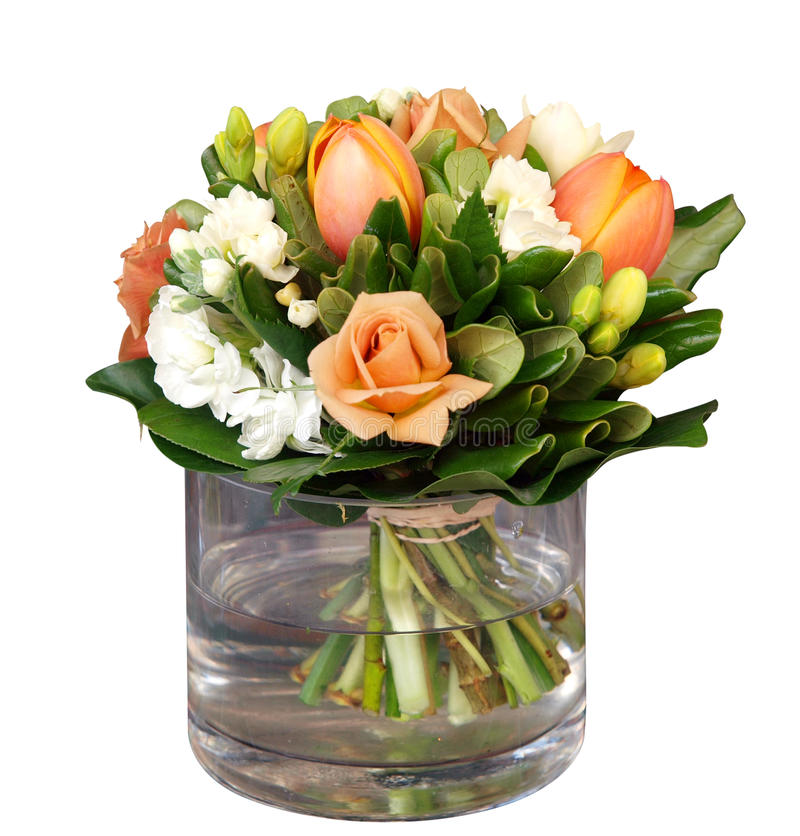 Blumenstrauß im Glasvase lizenzfreie stockfotos