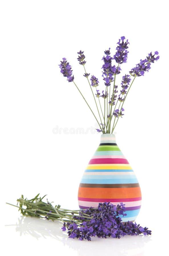 Blumenstrauß-Lavendel im Vase lizenzfreie stockfotografie
