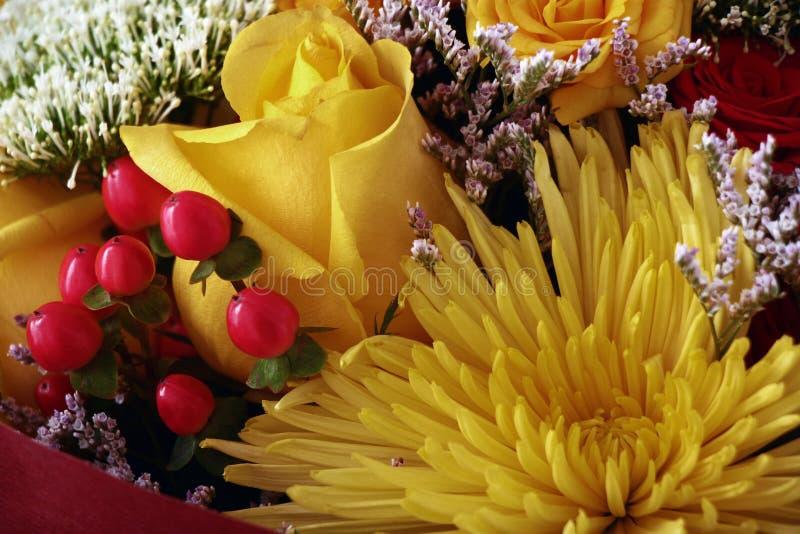 Blumenstrauß mit Chrysanthemen stockfoto
