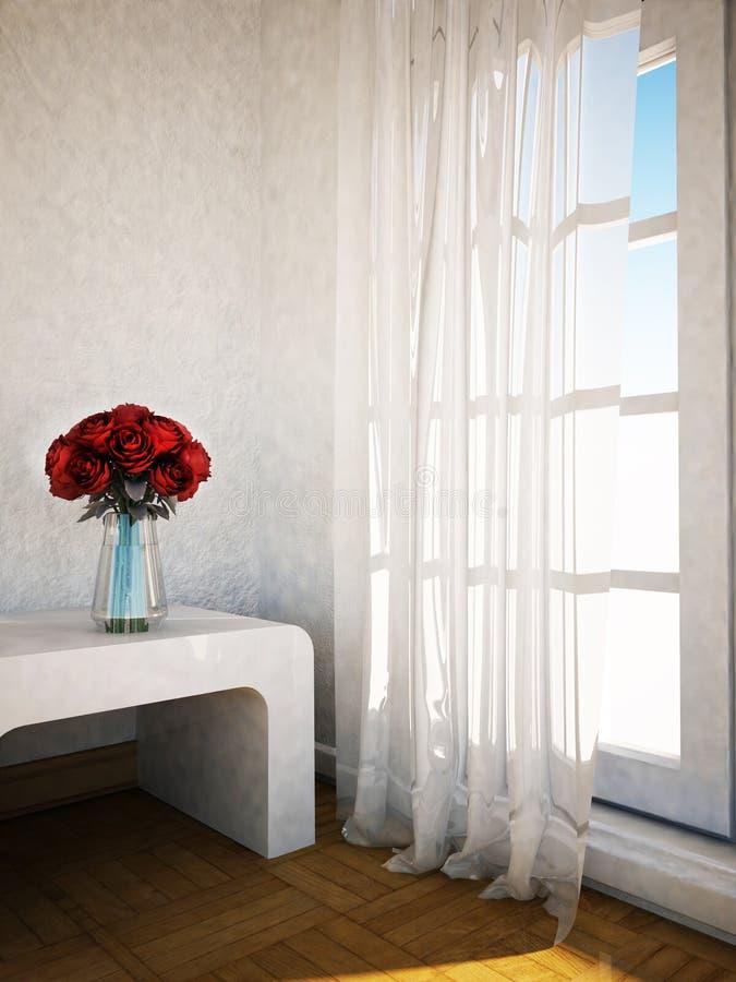 Blumenstrauß mit den Rosen auf dem Tisch vektor abbildung