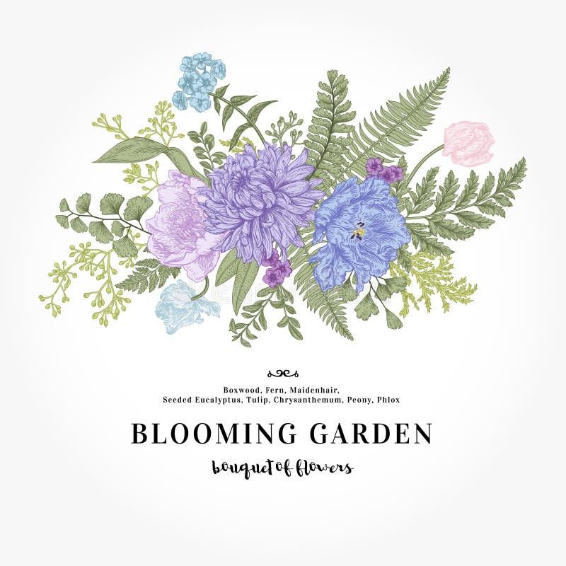 Blumenstrauß mit einem Garten blüht und Blätter in der Weinleseart stock abbildung