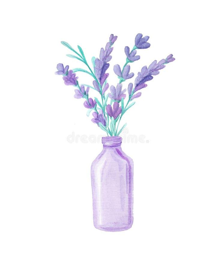 Blumenstrauß mit Lavendel und Kräutern lizenzfreie abbildung