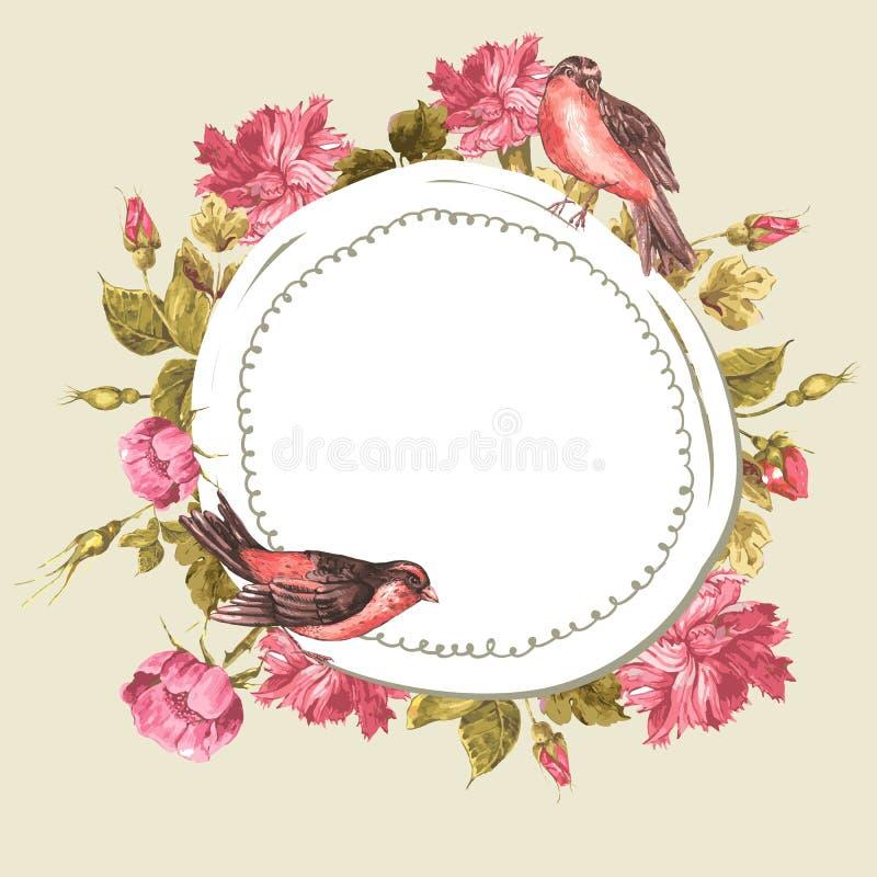 Blumenstrauß mit Rosen und Vogel, Weinlese-Karte vektor abbildung