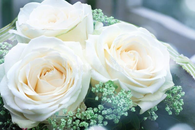 Blumenstrauß mit weißen Rosen stockfoto