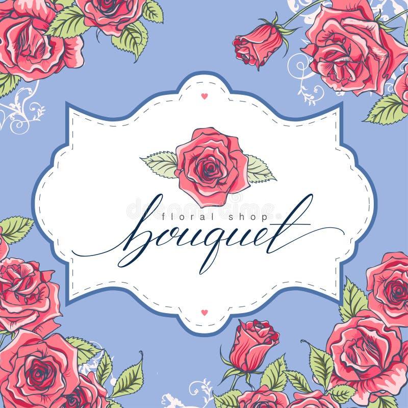 Blumenstrauß Schöne Hand gezeichnet, Logo Floral Shop beschriftend stock abbildung