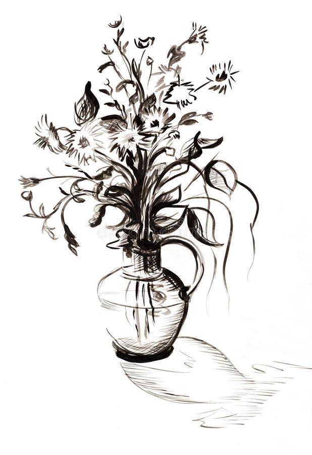 Blumenstrauß Schwarzweiss stock abbildung. Illustration von blumen ...