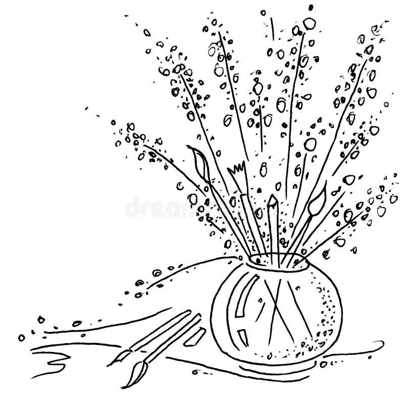 Blumenstrauß von Anlagen und von Bürsten Schwarzweiss-Zeichnung vektor abbildung