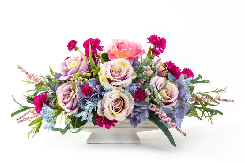 Blumenstrauß von Blumen im keramischen Topf stockbilder