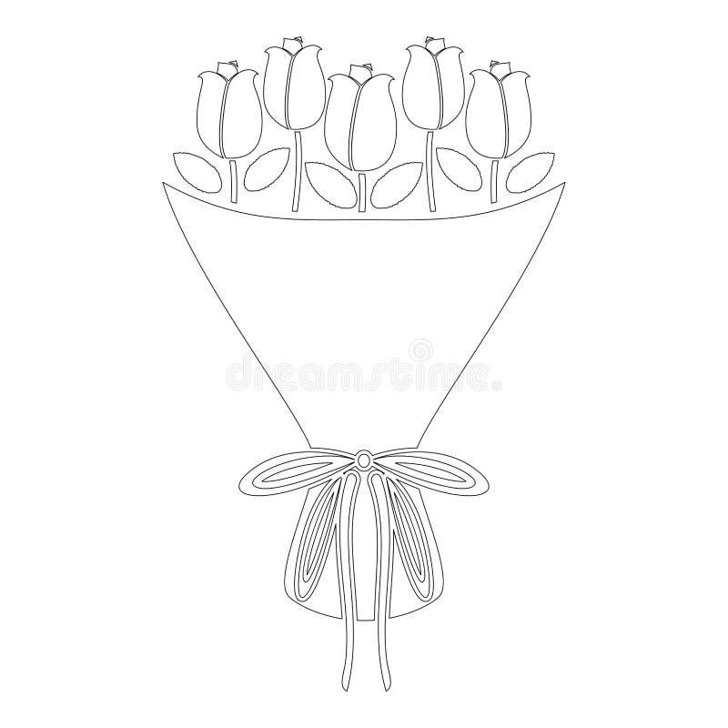 Blumenstrauß von Blumen Blumenstrauß von Rosen stellen Konzept Blumenstrauß der flachen Art der rosafarbenen Blumenikonenentwurfs stock abbildung