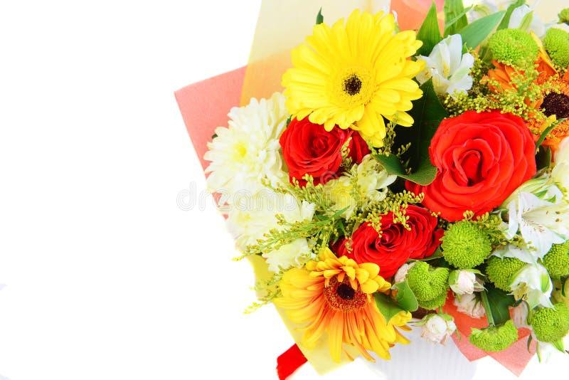 Blumenstrauß von bunten Blumen im weißen Hintergrund lizenzfreie stockfotos