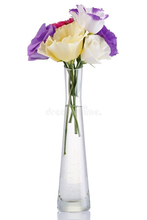 Blumenstrauß von bunten Eustomablumen in einem Glasvase lokalisiert auf weißem Hintergrund stockfoto