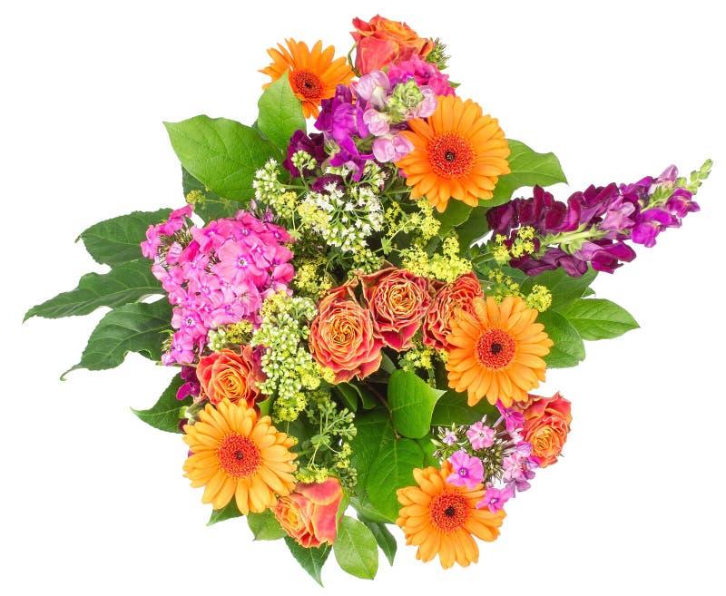 Blumenstrauß von den Blumen lokalisiert auf Weiß lizenzfreies stockbild
