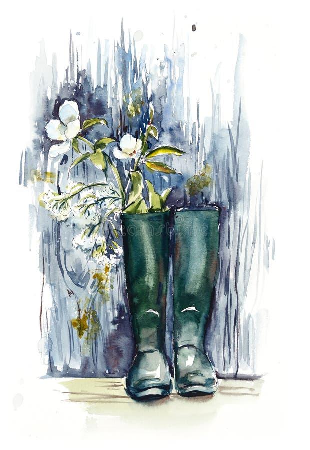 Blumenstrauß von den Wiesenblumen im gumboot Gezeichnete Illustration des Aquarells Hand vektor abbildung