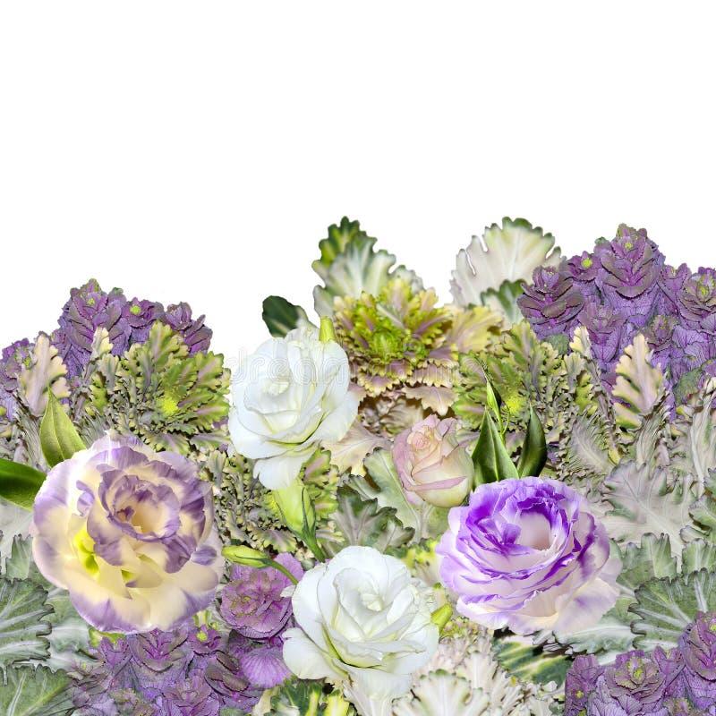 Blumenstrauß von Eustoma Lisianthus blüht und dekorativer Kohl - lizenzfreie stockbilder