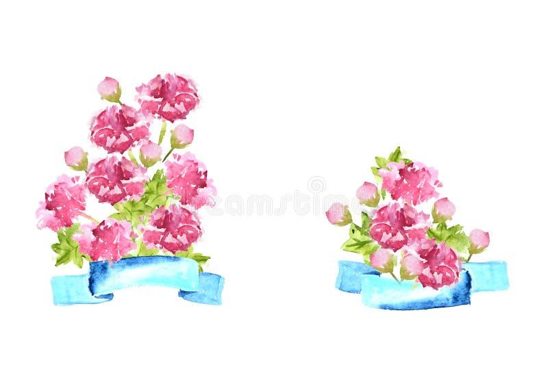 Blumenstrauß von Pfingstrosen mit blauem Band, dekorative Zusammensetzung des Aquarells stock abbildung