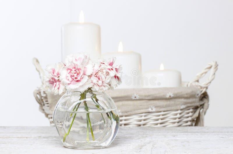 Blumenstrauß von rosa Gartennelken im kleinen Glasvase. lizenzfreie stockfotos