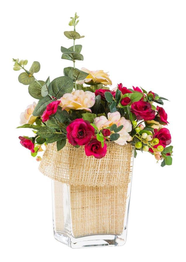 Blumenstrauß von Rosafarbenem und von Jasmin im Glasvase stockbild