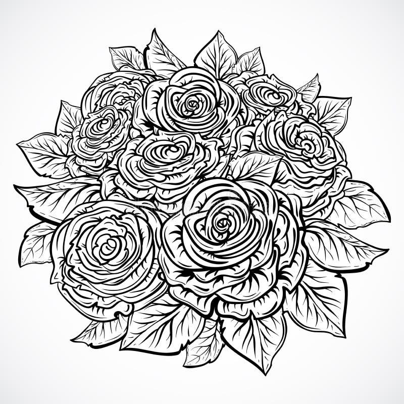 blumenstrau von rosen gezeichnete vektorillustration der weinlese schwarzweiss hand elemente. Black Bedroom Furniture Sets. Home Design Ideas