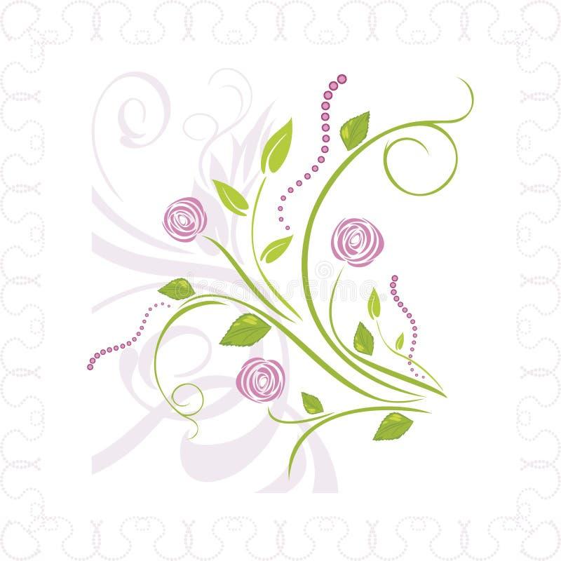 Blumenstrauß von stilisierten Rosen im Ornamentrahmen stock abbildung