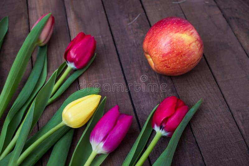 Blumenstrauß von Tulpen auf dunkelbraunen Brettern und Apple stockfoto
