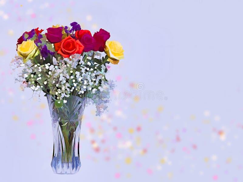 Blumenstrauß von Vivd-Farben von Rosen auf Hintergrund lizenzfreie stockbilder