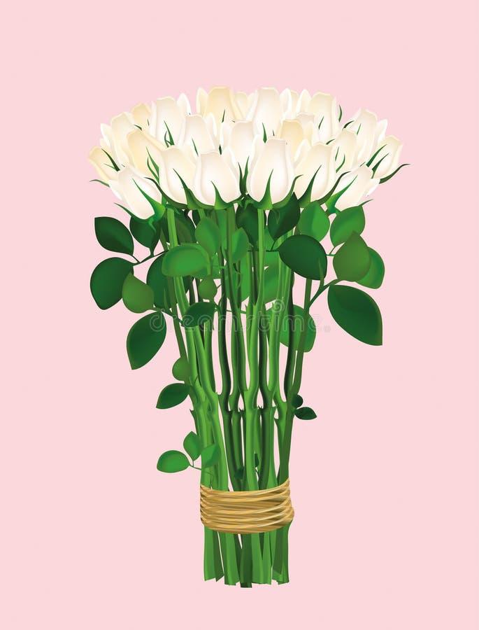 Blumenstrauß von weißen Blumen Rosen gebunden mit einem Seil glückliches neues Jahr 2007 lizenzfreie abbildung