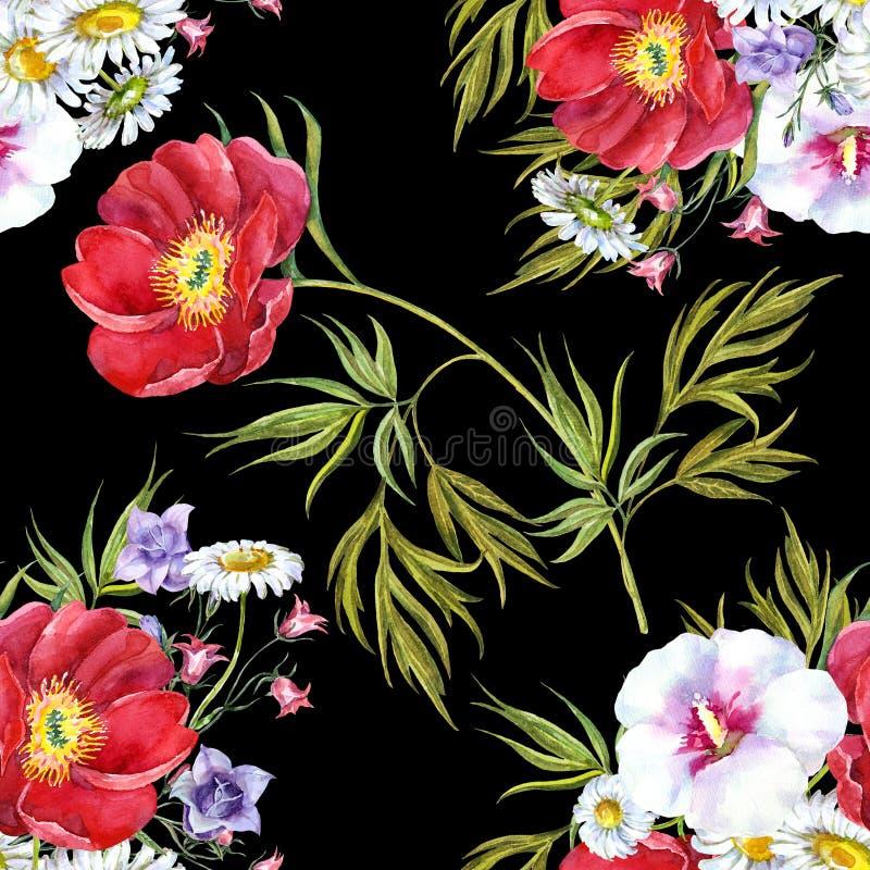 Blumenstraußsommer blüht, Aquarell, kopieren nahtloses stock abbildung