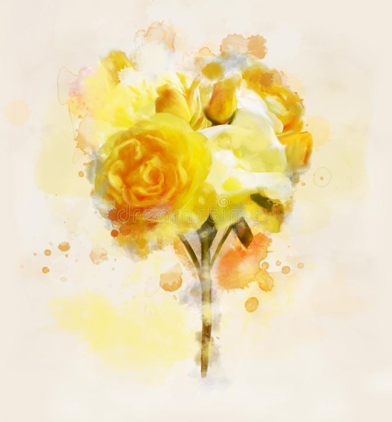 Blumenstrauß der gelben Rosen als Frühjahrsymbol vektor abbildung