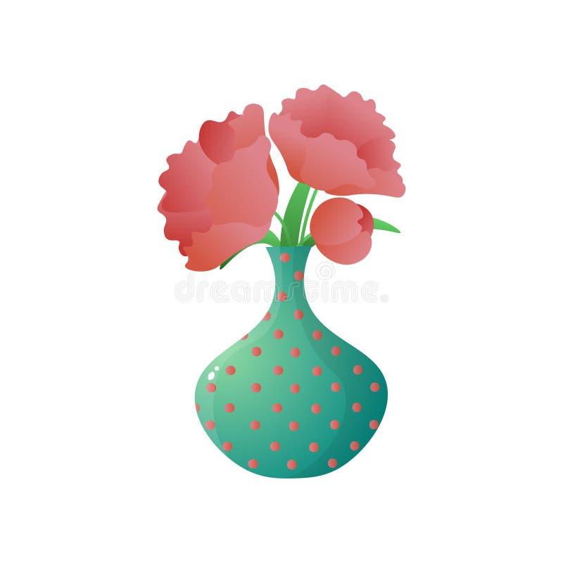 Blumenstrauß der roten Mohnblume im punktierten Vase lokalisiert auf weißem Hintergrund lizenzfreie abbildung