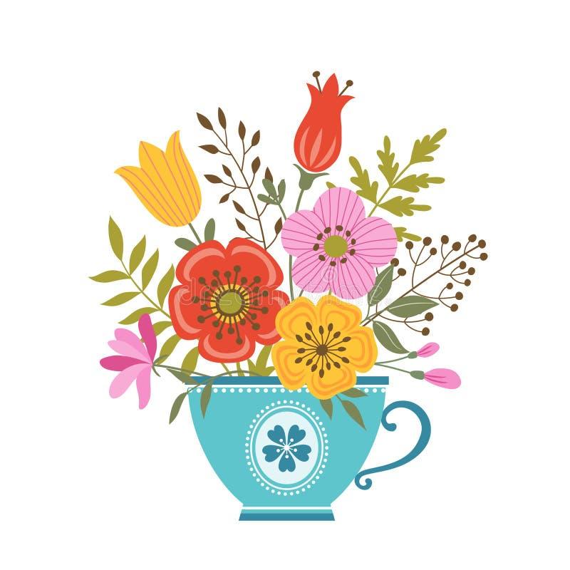 Blumenteetasse lizenzfreie abbildung