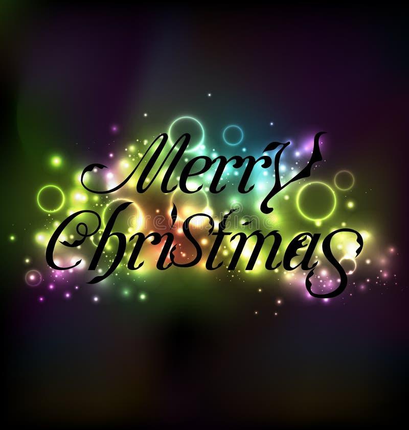 Blumentextdesign der frohen Weihnachten, schimmerndes glühendes backgroun vektor abbildung