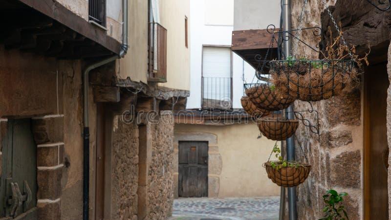 Blumentopf hergestellt mit Kokosnuss auf Straße von San Martin de Trevejo, Caceres, Extremadura, Spanien lizenzfreies stockfoto