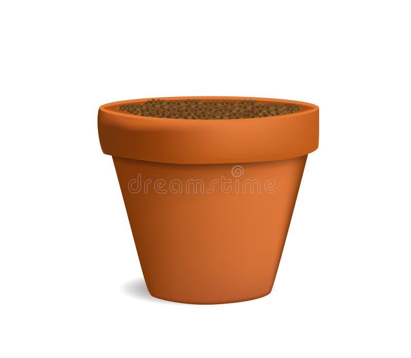 Blumentopf mit Grundvektorillustration lizenzfreie abbildung