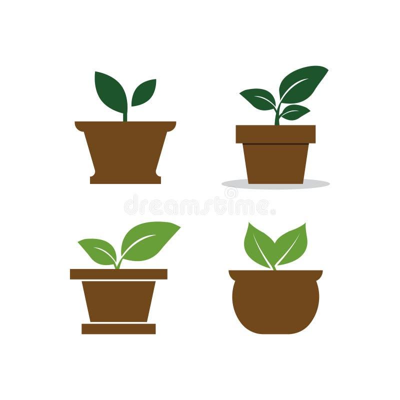 Blumentopflogo-Designschablone stock abbildung