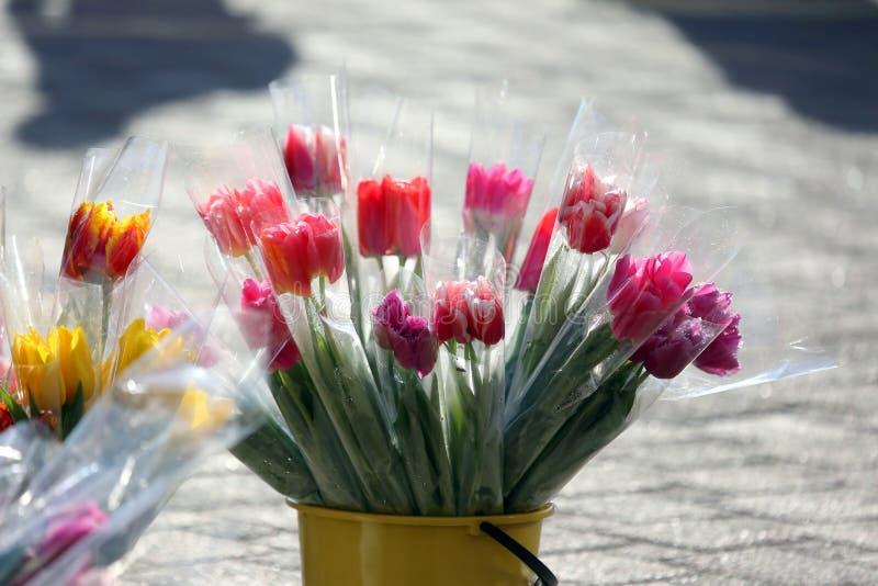 Blumentulpen stellten für Verkauf auf der Straße auf lizenzfreies stockbild