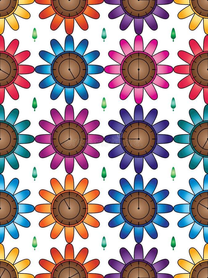 Blumenuhr farbige Symmetrie nahtloses Muster vektor abbildung