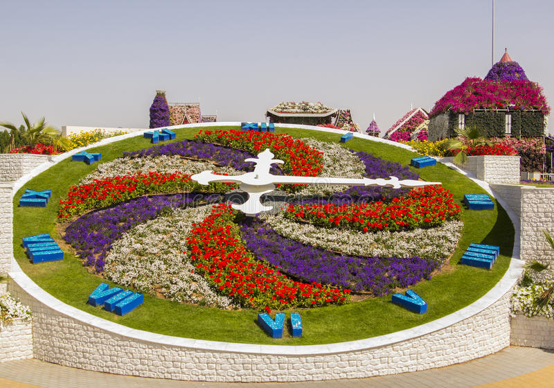 Blumenuhr im Wunder-Garten in Dubai lizenzfreie stockfotografie