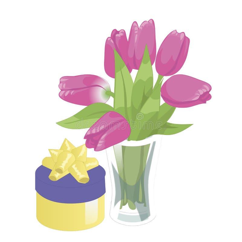 Blumenvase und ein Kasten mit einem Geschenk Lokalisierte Ikone des Blumenvase auf weißem Hintergrund Vase Blumen Zacken Sie Tulp stock abbildung