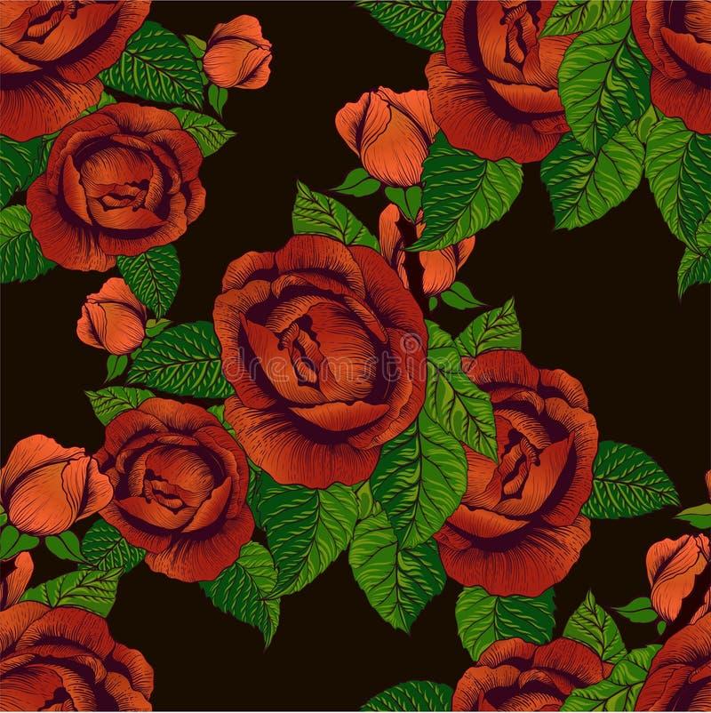Blumenvektor Eine Niederlassung von Rosen mit Bl?ttern, Blumen und den Knospen Collage von Blumen und von Bl?ttern auf auf wei?em vektor abbildung