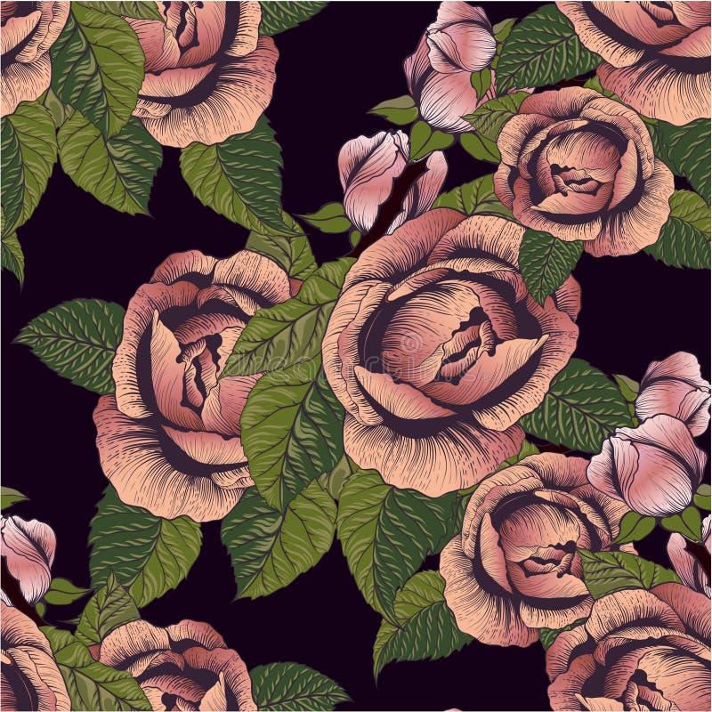 Blumenvektor Eine Niederlassung von Rosen mit Bl?ttern, Blumen und den Knospen Collage von Blumen und von Bl?ttern auf auf wei?em lizenzfreie abbildung